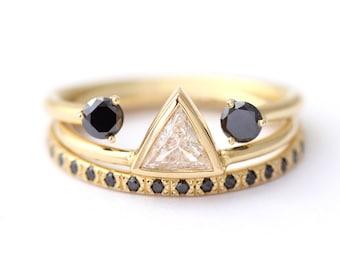 Black Diamonds Bridal Set, Bridal Wedding Set, Three Rings Set, Alternative Wedding Set, Triangle Diamond Ring, Black Wedding Ring