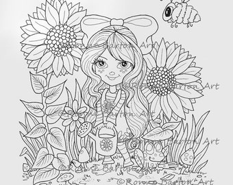 IMG044 Country Bumpkins 1 Sunny's Garden INSTANT DOWNLOAD coloring page digital stamp fantasy little girl cute sunflowers digi stamp