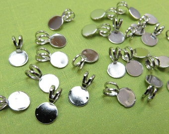 24 pcs Pendant Bails - Platinum Tone - Glue on Bail - 6mm Glue Pad