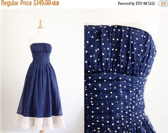 LOVERS DAY SALE Vintage 1950's 50s Navy Cream Polka Dot Party Dress Full Skirt Strapless Xs / S Extra Small