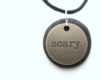 Scary Halloween Necklace, Scary Halloween Word Jewelry, Polymer Clay Word Pendant