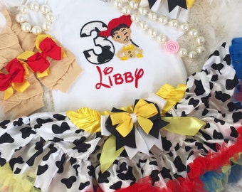 3-pcs set Toy Story Jessie inspired Birthday outfit-Include personalised Top,skirt and matching headband