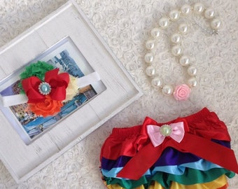 2pc set Girls birthday, photo prop outfit-Include rainbow bloomer and a matching headband