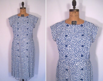1980s cobalt blue and white triangle print secretary dress • 80s does 40s geometric print dress • vintage birth of the blues dress