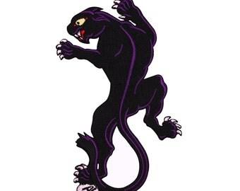Purple & Black Panther Patch Left-Facing Wild Jungle Cat Animal Iron-On Applique
