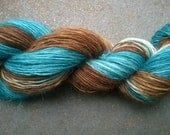 Hanspun Yarn: Single Ply Mohair in Deep Turquoise and Brown