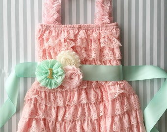 Pink mint and gold 1st birthday outfit-3 piece set-mint pink gold baby outfit-cake smash outfit-pink lace dress-photo prop-birthday dress