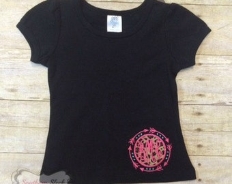 Girls Black Shirt With Monogram Circle in Leopard, Hot Pink & Turquoise