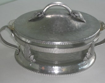 Vintage Hammered Aluminum Casserole Holder with Pyrex Dish