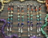 CHAKRA Quartz wire wrapped Dangle earrings - any color wire