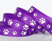 """12Yd White Paw 3/8"""" Purple Grosgrain Ribbon"""