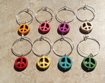 Peace Sign Wine Glass Charms