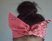 Coral hair bow, Paisley Dolly bow Headband, hair bow head band