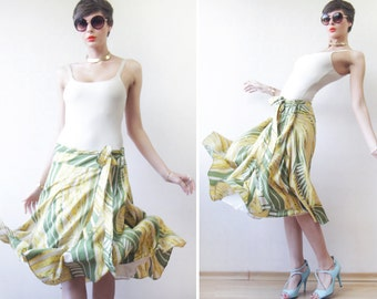 Green yellow silk full pleated belted tea length midi skirt XXL