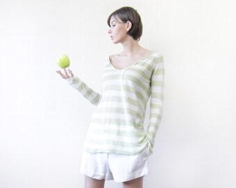 Vintage light green white striped loose semi sheer linen long sleeve top