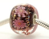 "Big Lampwork glass bead European Charm Focal bead ""Blooming"" Sterling silver core big hole 144 By Shirley"