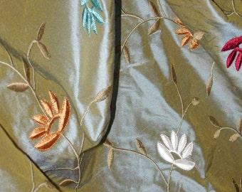 "No. 400 Vintage Embroidered Silk Velvet Flowers on Irridescent Silk Shantung Fabric, 22.5 Yards x 54"""