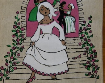 Vintage Swedish printed 1960s wall hanging - Cinderella - Sassi design