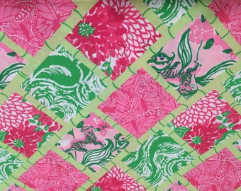 Jubilee Bamboo Patch/ white Zin cotton poplin  9 X 18  inches  or 18 X 18 inches   ~Lilly Pulitzer~