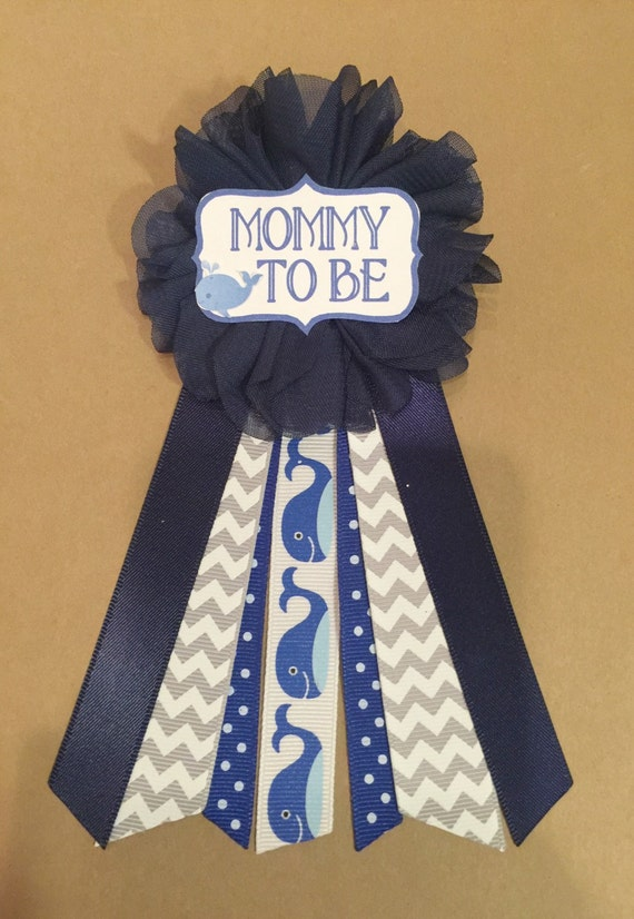 blue whale baby shower mommy to be flower ribbon pin by afalasca. Black Bedroom Furniture Sets. Home Design Ideas