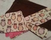 Flannel Baby Blanket with Flannel/Minky Lovie Mini Blankie Set - Brown/Pink Owls