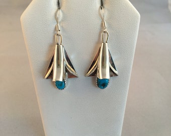 Navajo Sterling Silver with Turquoise Squash Blossom French Hook Earrings