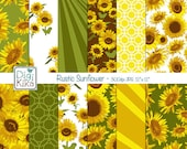 Rustic Sunflower Digital Papers, Sunflowers Scrapbook Paper - Summer Sunflowers Papers - Sunflowers Background - INSTANT D