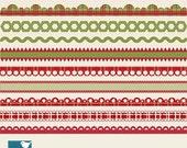 70% Sale Christmas Ribbons - Digital Clipart / Scrapbook borders - card design, invitations, paper crafts, web design - INSTANT DOWNLOAD