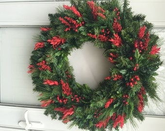 Sale!! Red Holly Berry with Lush Greens Holiday Wreath