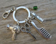 Hairdresser Keychain, Beautician Zipper Pull , Antiqued SILVER, Barber Keychain, Personalized Accessory, Hairspray Comb Hair Salon Keychain