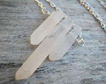 Quartz Crystal Necklace, Raw Quartz Necklace, Silver Bar Necklace, Triplets Minimalist Necklace, Choose Length,  READY To SHIP, QSS2