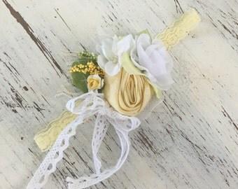 Yellow Baby Girl Headband- Baby Headband- Wdw Headband- Whim and Wander- Newborn Headband- Infant Headband- Couture Headband
