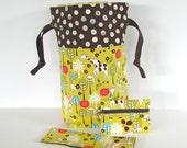 Knitting Bag, Needle Holder, Zippered Notions Pouch / Woodland Giraffe Gift for Knitters - Gift Set