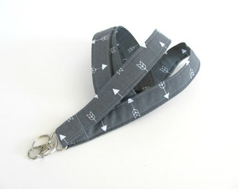 Arrow Lanyard Keychain, ID Badge Lanyard, Keys Holder in Grey, Fabric Lanyard for Men or Women