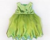 RESERVED Girls Tinker bell Fairy Costume Dress Glitter Tulle Bow Back Handmade Unique