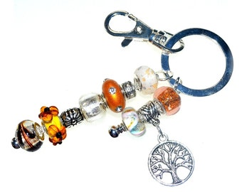 Gold & White Beaded Key Ring with Tree of Life Charm