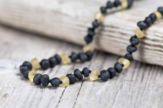 Raw amber teething necklace for baby boys. Maximum pain relief