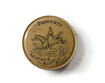 Vintage Propert's Leather and Saddle Soap Tin, Empty