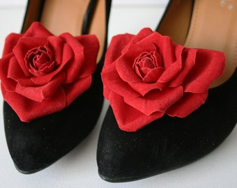 Red Fabric Heart Rose Flower Shoe Clips