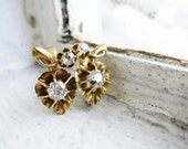RESERVED- Antique 8K Gold Flower or Fruit Earrings with Brilliant Cut Diamonds from the Philippines