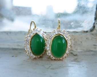 Vintage 18K Gold Earrings with Green Cabochons with New CZs on Leverback Locks