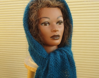 Scarf with Hood, Hooded Neckwarmer, Scarf in Green (Bottle Green), Handknitted Scarf with Hood