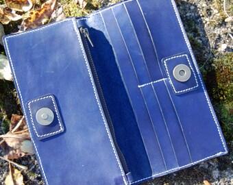 Blue Long Wallet - Handmade Leather Wallet