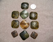 Lot of 10 Vintage Square Celluloid Buttons Sew Thrus