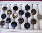 Lot of 15 Black & Gold Fancy Glass Shank Buttons