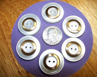 """Set of 6 Vintage Thick White & Gold Plastic Buttons 1 1/8"""""""