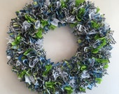 Boy, Baby Boy Fabric Wreath, Wall Decoration, Fabric Flower Wall Wreath, Birthday or Shower Gift Wall Decoration, Birth Announcement