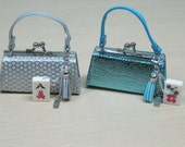 Mini Mahjong coin purse with removable charm metallic silver and aqua