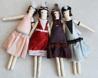 1920s Flapper Ragdoll: Cloth Doll, Ragdolls, Handmade from Vintage and Recycled Materials, Cloth Doll, Great Gatsby, Art deco