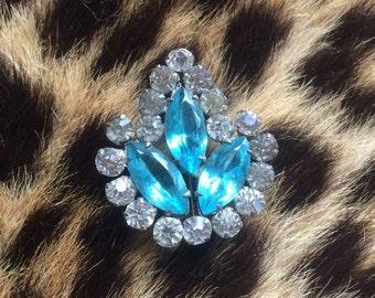 Vintage antique blue rhinestone pin brooch bridal wedding something blue brooch free shipping sale